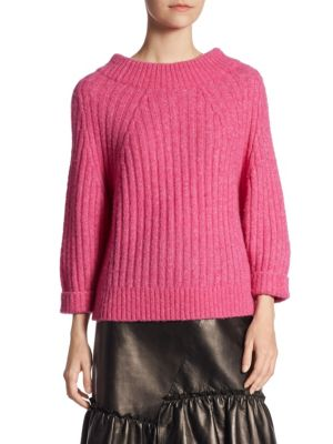 Three-Quarter Sleeve Ribbed Sweater