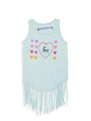 Toddler, Little Girl's & Girl's Unicorn Fringe Cotton Top