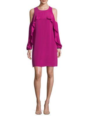 Raina Silk Cold Shoulder Shift Dress