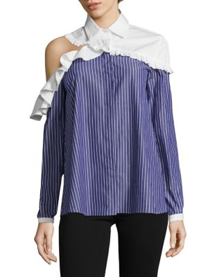 Charles Ruffle Cut Out Cotton Top by Sandy Liang
