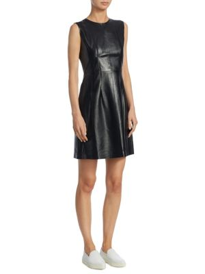 Darted Combo Leather Dress