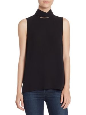 Slit Collar Silk Top