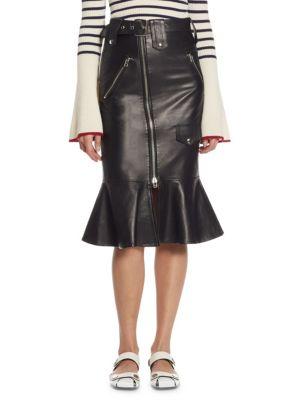 Flared Leather Biker Skirt
