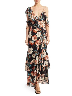 Lola Ruffle Cold Shoulder Silk Maxi Dress