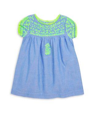 Toddler, Little Girl's & Girl's Chambray Embroidered Dress