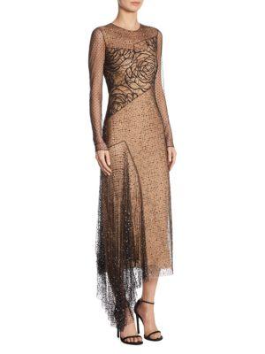 Point D'Esprit Long Sleeve Gown