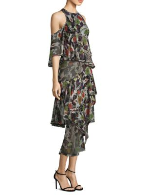 Night Silk Chiffon Cold-Shoulder Dress