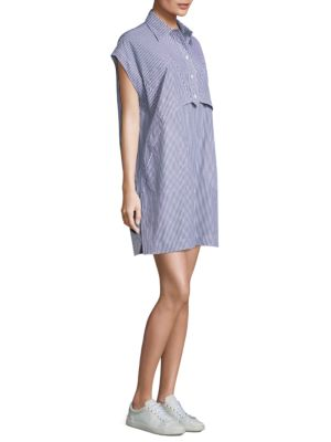 Elliptical Stripe Cotton Shirtdress