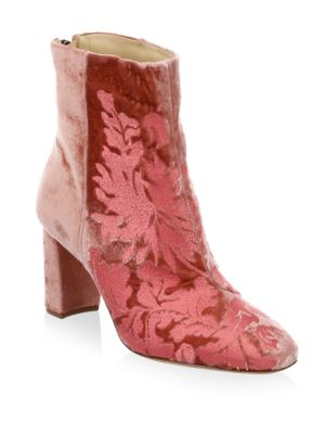 Regina Embroidered Velvet Booties