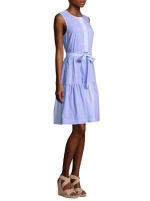 Mixed Pinstriped Shirt Dress