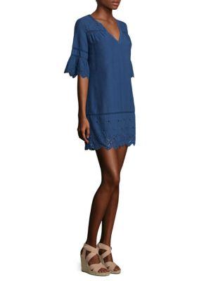 Garment-Dyed Eyelet Shift Dress