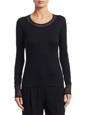 Mesh Detail Scoopneck Top