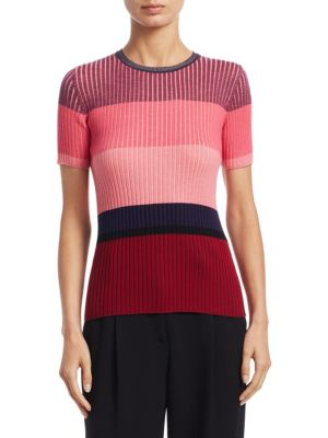 Short Sleeve Ribbed Wool Stripe Knit