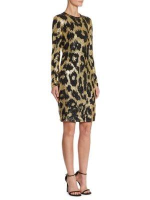 Sequin Leopard-Print Dress