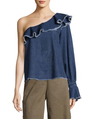 Orla One-Shoulder Denim Top by Tanya Taylor