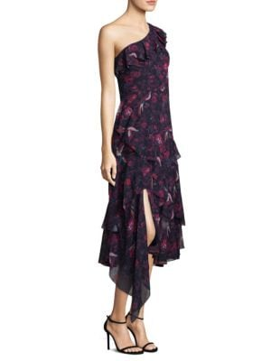 Isua Floral Ruffled Silk Dress
