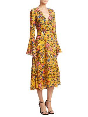 Idella Bell Sleeve Silk Kimono Dress