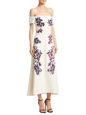 Lottie Wisteria Embroidered Crepe Off-the-Shoulder Dress