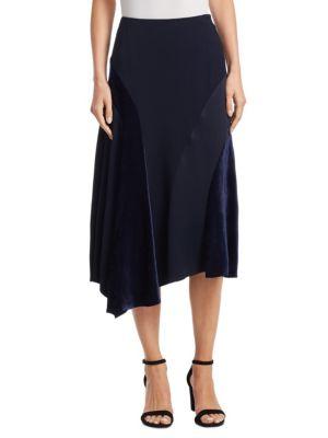 Velvet Inset Midi Skirt