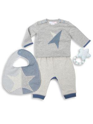 Baby's Four-Piece Star Top, Pants, Astro Bib & Crochet Teether Cotton Gift Set