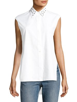 Eyelet Sleeveless Cotton Top by Helmut Lang