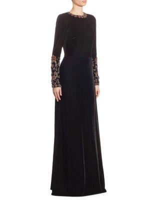 Yami Beaded Velvet Gown