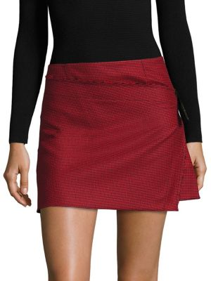 Houndstooth Pleated Mini Skirt