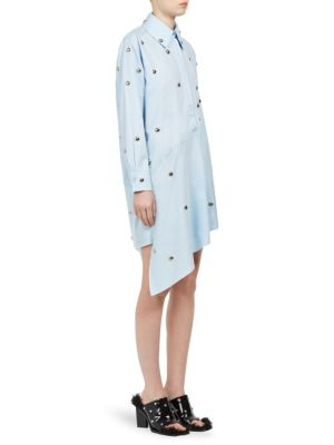 Studded Asymmetric Shirt Dress
