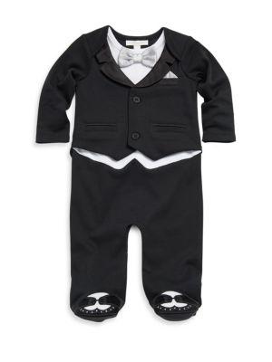 Baby's Cotton Mock Suit Footie