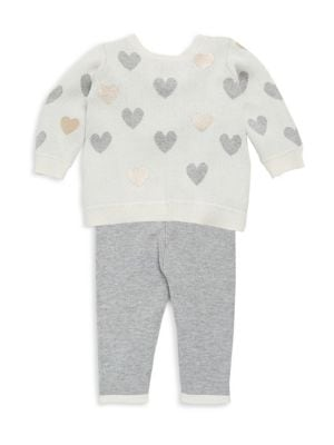 Baby's Heart Sweater Top & Textured Leggings Set