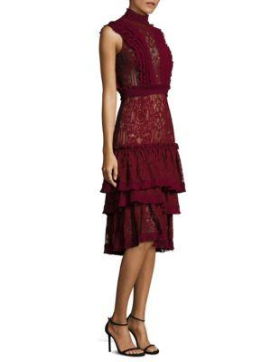 Tower Mesh Lace Ruffle Layered Dress