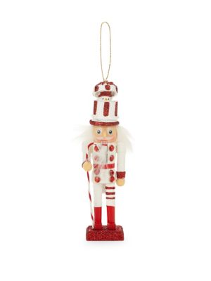 Glittered Snowman Hat Soldier Ornament