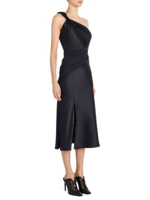 Envers Satin Twist-Detail One-Shoulder Dress