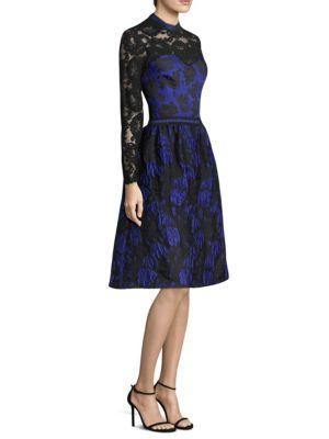 Rose Brocade Knee-Length Dress