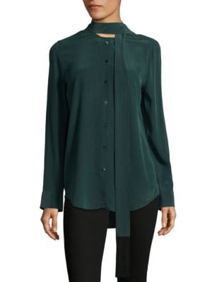 Essential Tie Neck Silk Blouse by Equipment