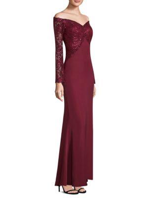 Sequin Top Floor-Length Gown