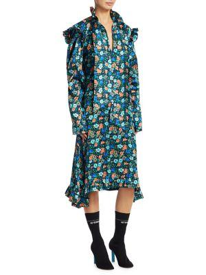 Silk Biker Floral-Print Midi Dress
