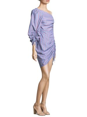 Harmond Linear One-Shoulder Cotton Dress