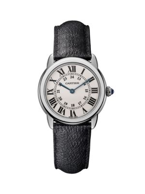 Ronde de Cartier Solo Stainless Steel & Black Leather-Strap Watch/29MM
