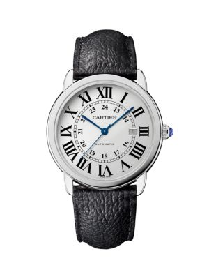 Ronde de Cartier Solo Stainless Steel & Black Leather-Strap Watch/42MM