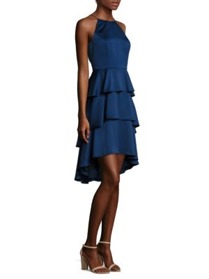 Ruffled Hi-Lo Halter Dress