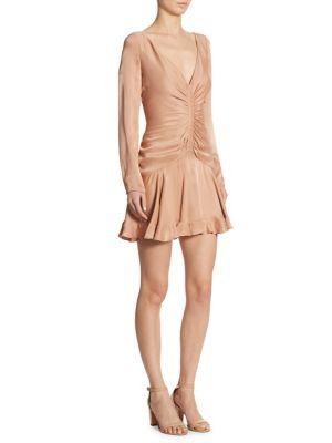 Ruched V-Neck Mini Dress