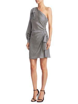 Striped One-Shoulder Mini Bow Dress