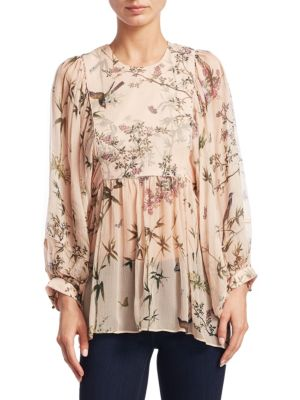 Maples Smock Floral Silk Top by Zimmermann