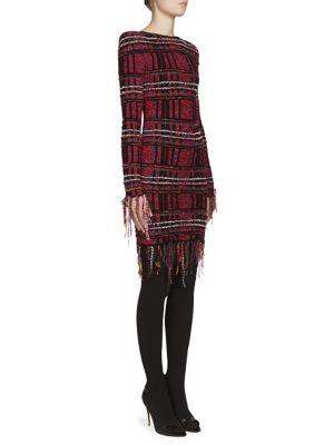Tweed-Knit Fringed Plaid Dress