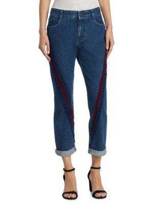 Velvet Trim Skinny Boyfriend Jeans