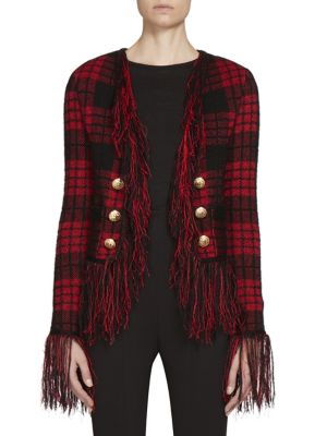 Button-Detail Fringed Plaid Jacket