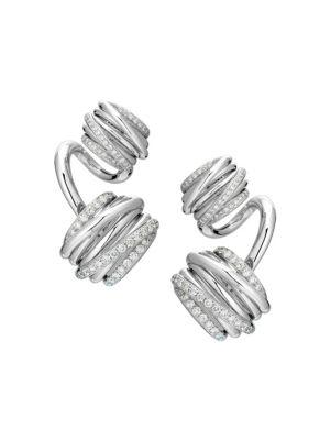 Allegra Toi & Moi 18K White Gold & Diamond Earrings
