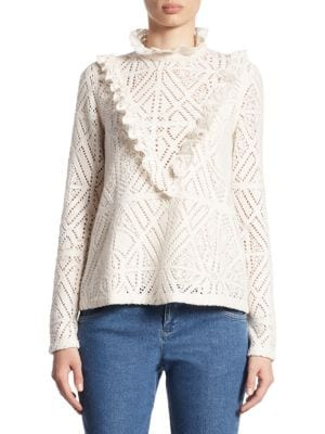 Ruffled Lacy Jersey Top by