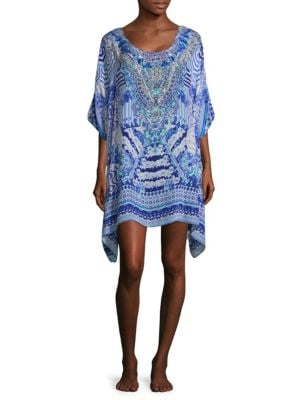 Feather Print Caftan Dress